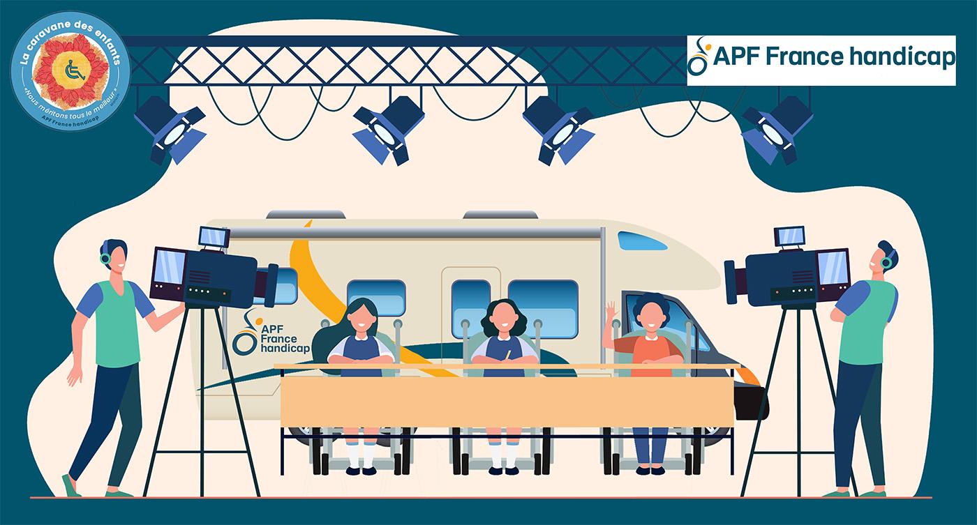 illustration d'une caravane et d'un plateau TV